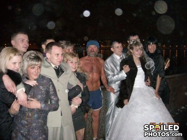 - Getting married at the beach, expect bums...