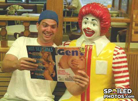 - Even Ronald McDonald likes to look at dirty magazi